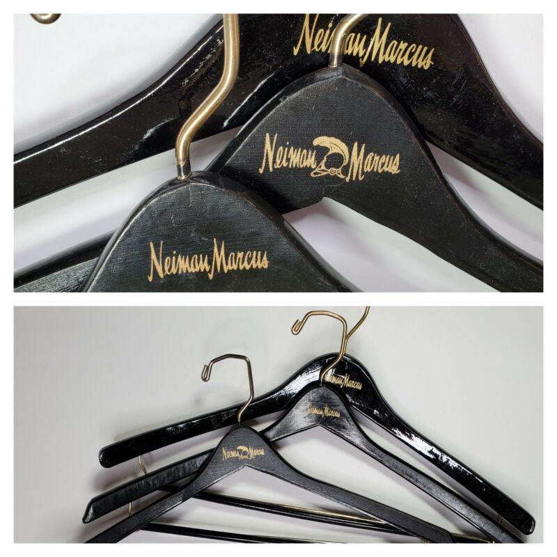 3 Vintage Neiman Marcus Wood Hangers Wooden Black Suit