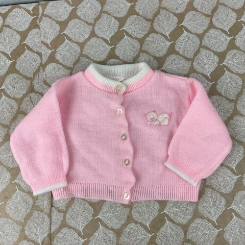Vintage Childwise Size 9 months Pink White Knit Cardigan Sweater Teddy Bear