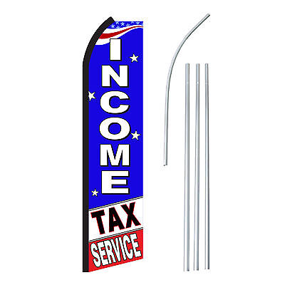 Income Tax Service - Advertising Sign Swooper Feather Banner Flag Pole Only