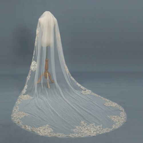 Wedding Veils With Comb Cathedral Length Bridal Accessories Bride Gift Appliques