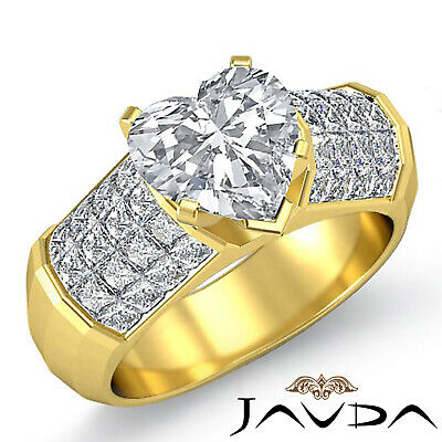 Heart Cut Diamond Engagement Prong Invisible Setting Ring GIA I Color SI1 2.2Ct 5