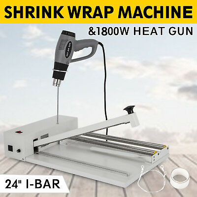 24 I-bar Shrink Wrap Machine Heat Sealer W Heat Gun Efficient Pvc Air Packing