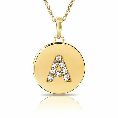 14K Yellow Gold Round Solitaire Disc Initial Letter