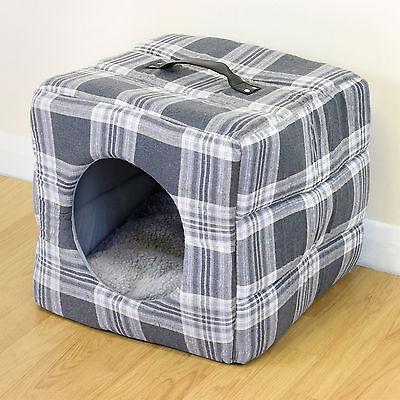 Grey Tartan Soft Cosy Igloo Cave Warm Pet Bed Dog/Puppy/Cat/Kitten Cube House
