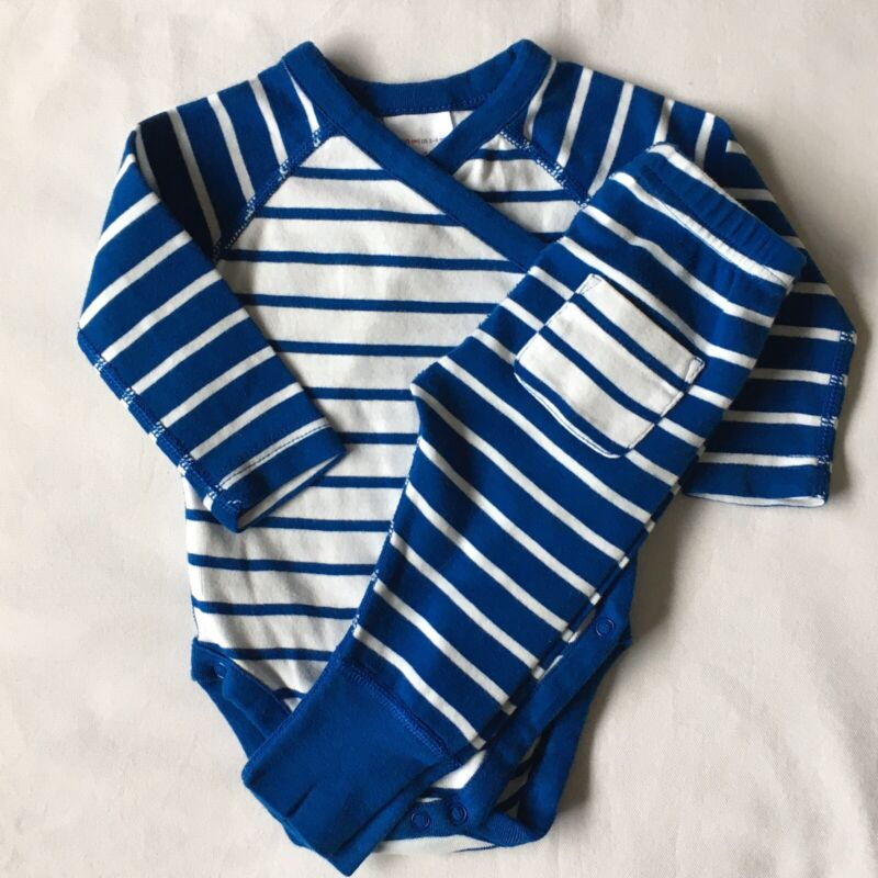 Hanna Andersson Set Size 60 3 6 Months 2 Piece Blue White Striped Shirt Pants