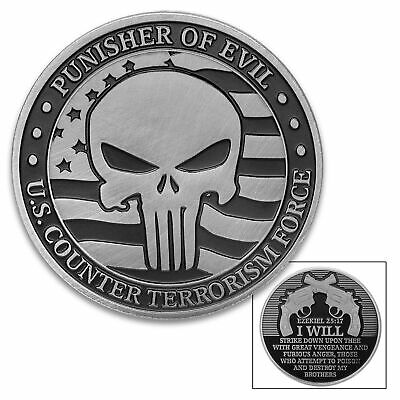 Punisher Of Evil Challenge Coin Heads Tails Lucky Ezekiel Bible Military Army