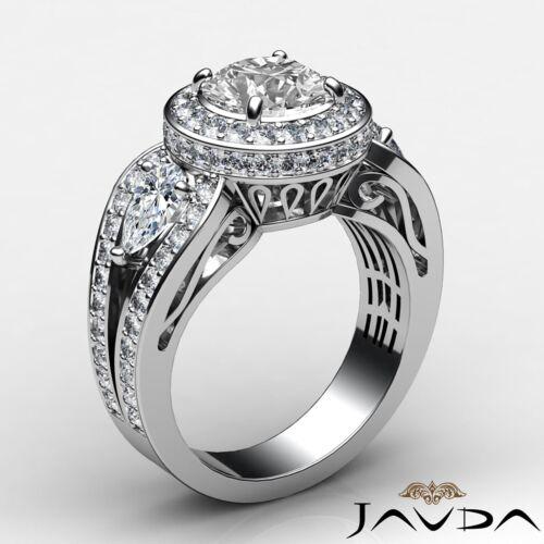 2.85ct Round Diamond 3 Stone Engagement Filigree Ring GIA F VVS2 14k White Gold 1