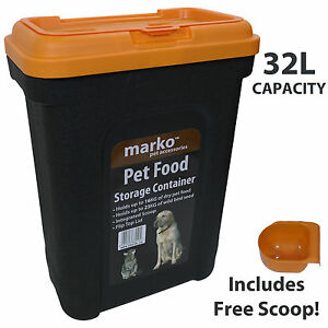 32L Pet Food Large Container Dog Cat Animal Storage Bin 16KG Dry Feed 23KG Seed