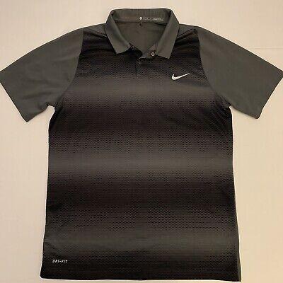 Nike Tiger Woods Collection Dri Fit Mens Polo Shirt Medium Black/Gray Nice!!