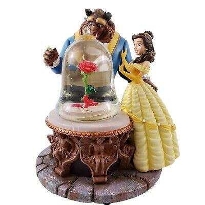 Disney Beauty And The Beast Musical Snowglobe Rose In Glass