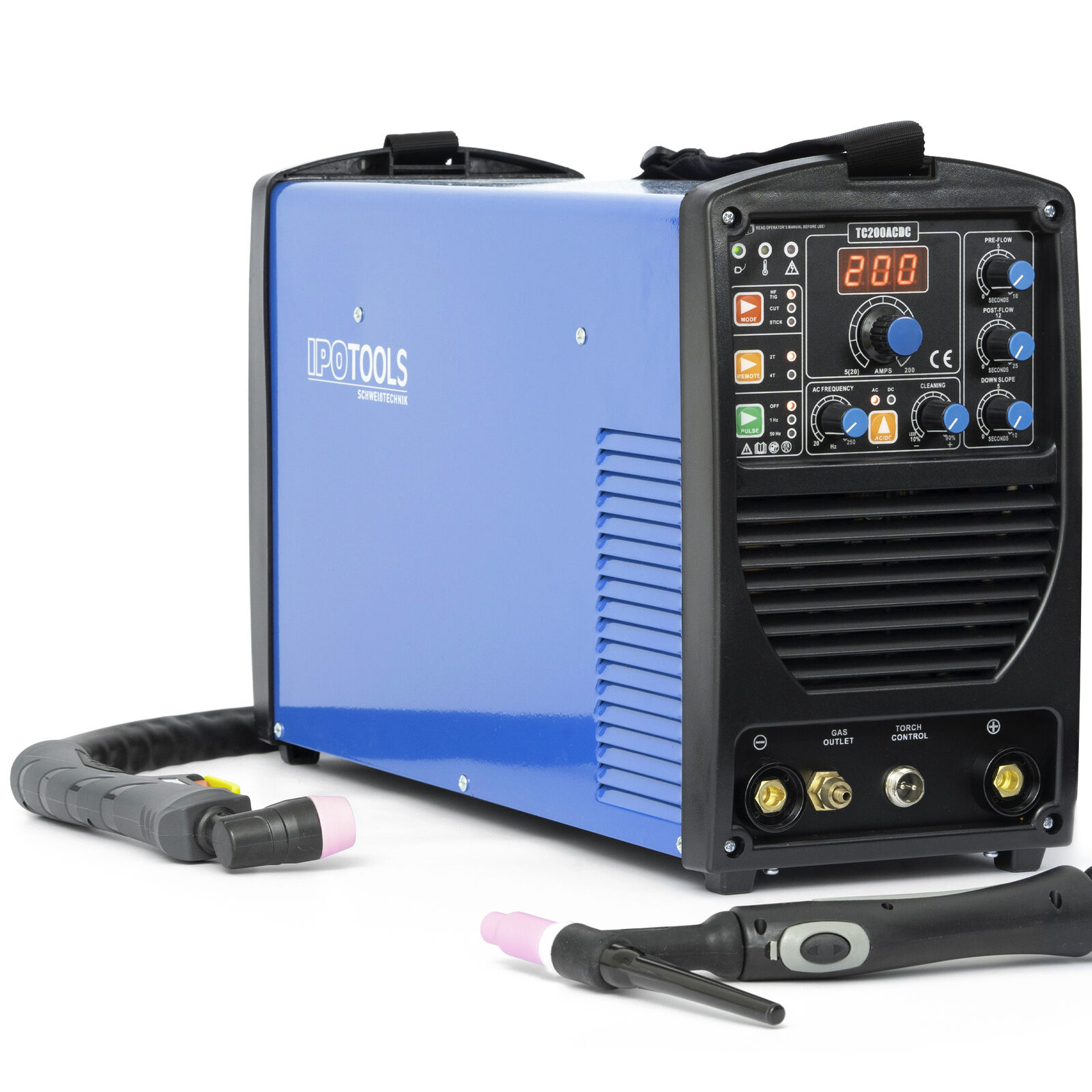 4in1 WIG Schweißgerät AC DC 200 + PLASMA E-HAND PLASMASCHNEIDER TIG Digital PULS