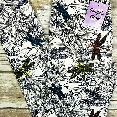 Dragonfly Leggings Floral Dragonflies Print White Base Buttery Soft ONE SIZE OS