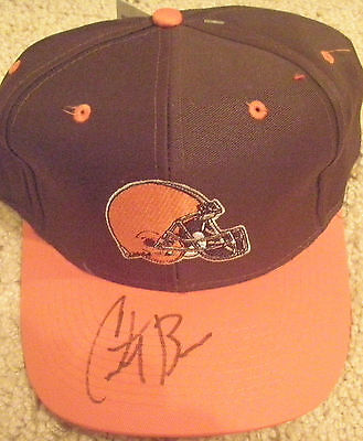 CLEVELAND BROWNS FOOTBALL COURTNEY BROWN AUTOGRAPHED SIGNED SNAPBACK LOGO HAT