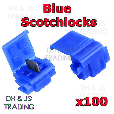 100 x Blue Scotchlock Wire Connectors Scotchlocks Splice Terminal Scotchlok