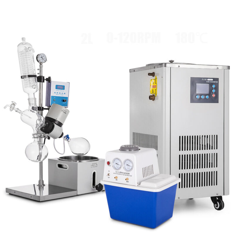 2L Rotary Evaporator Complete Turnkey Package w/ Water Vacuum Pump Chiller Usa