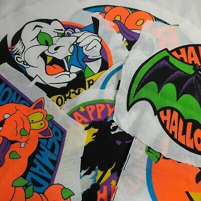 90s Halloween Fabric Appliques x8 Excellent colors, Cut out but unused  - Halloween Appliques