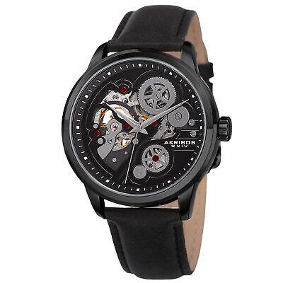 Men's Akribos XXIV AK855BK Skeleton Dial Automatic Movement Leather Strap Watch