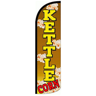 Kettle Corn Windless Swooper Feather Flag Tall Banner Sign 3 Wide Tan Yellow
