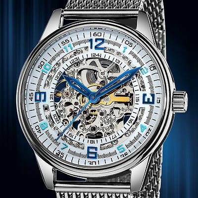 Men's Akribos XXIV AK446SS Saturnos Elite' Skeleton Automatic SS Black Watch