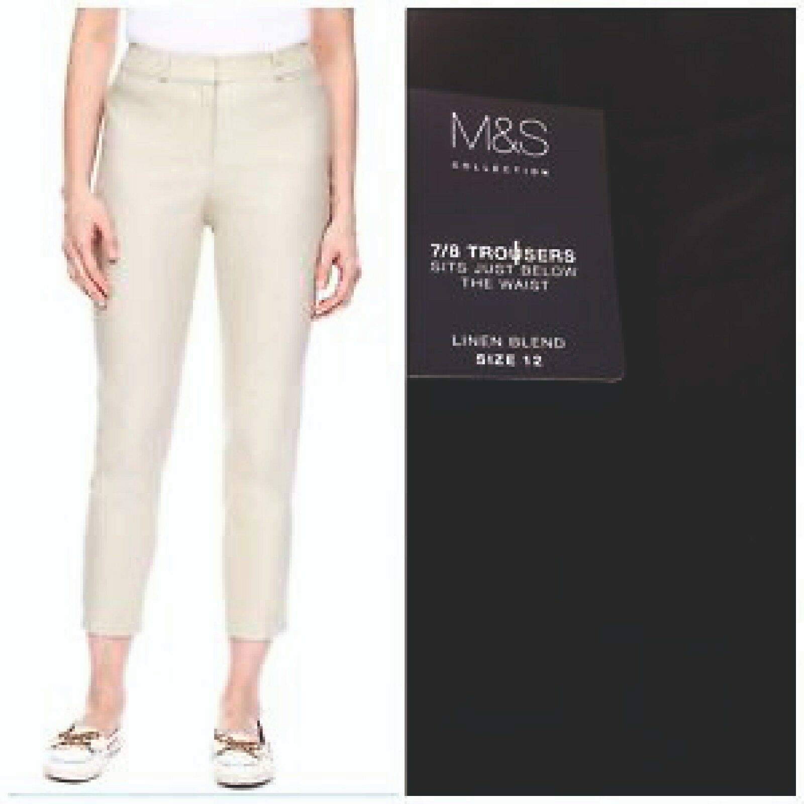 LADIES M/&S SIZE 20 TAPERED 7//8 SLIM CROPPED STRETCH TROUSERS FREE POST