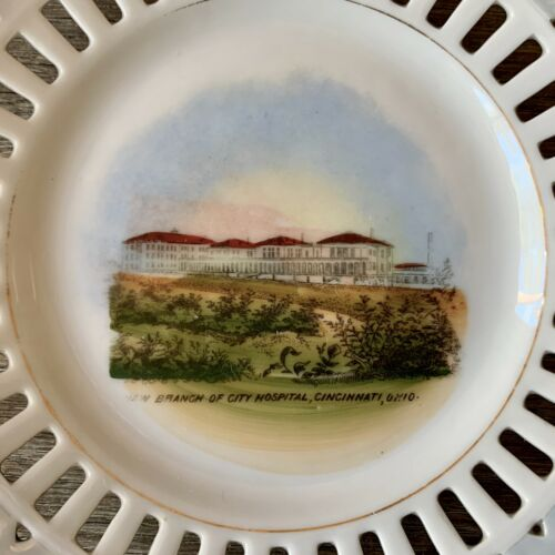 Vintage CITY HOSPITAL Collectible China Souvenir Ribbon Plate CINCINNATI Ohio