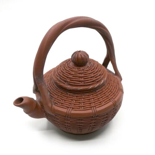 Vintage Collectors Yixing Teapot -  Intricate Woven Basket Design - Purple Clay