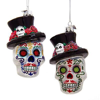 Kurt Adler Halloween Day Of The Dead Skeleton Head Glass Ornament YouPick NB1499