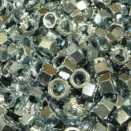 "(250) 3/8""-16 Keps Lock Nut (K-Lock) Hex Nut Coarse Thread Zinc Plated"