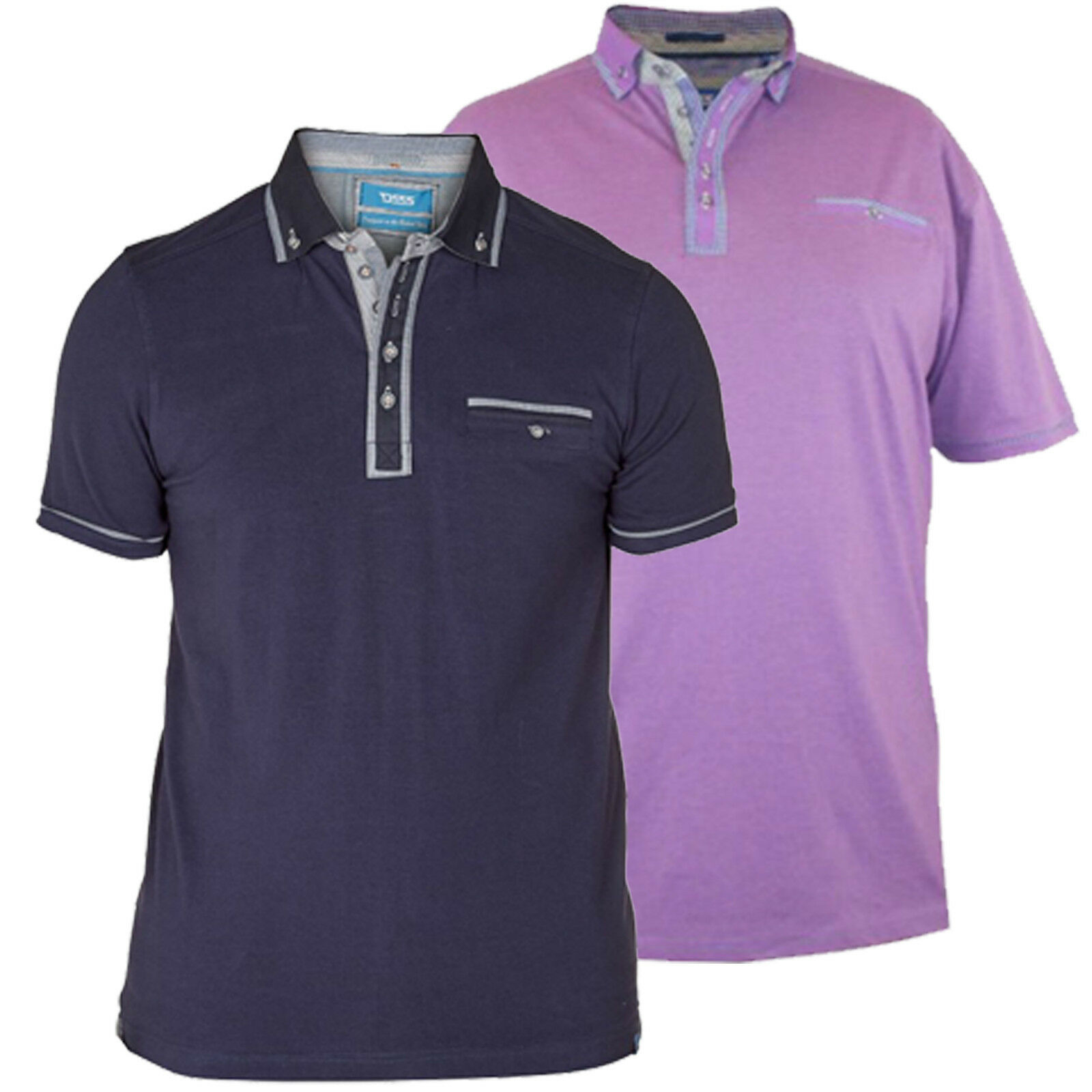 D555 Mens Branded King Size Long Sleeve Smart Casual Polo Shirt BNWT