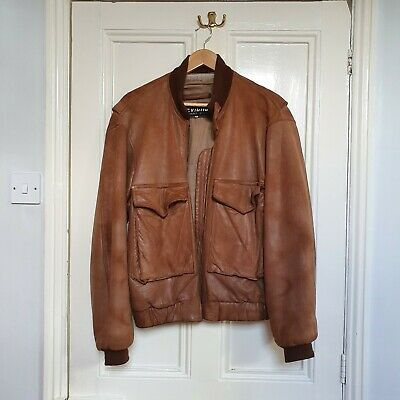 Vintage Chevignon Brown Leather Bomber Jacket M