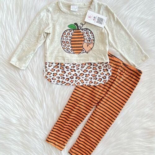 Girl Orange Striped Cheetah Pumpkin Boutique Outfit Set
