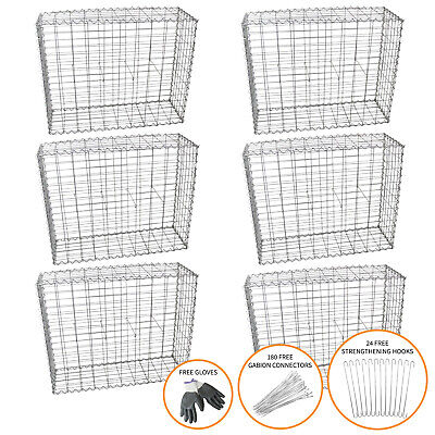 Gabion Baskets Outdoor Cages Stone Wire Mesh Planter / 100 x 95 x 30cm / 6 Pack