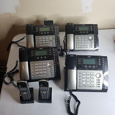 Lot Of 4 Rca Visys 25424re1-a 25425re1-b 4-line Business Phones 2 Cordless