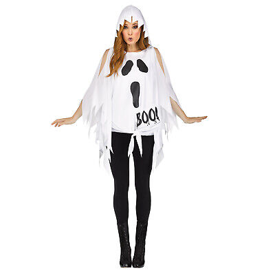 Adult Women's Classic Glitter Ghost Halloween Easy Costume Hooded Poncho Top - Easy Woman Costume Halloween