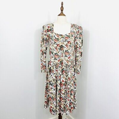 80s Dresses   Casual to Party Dresses Vintage Rita Louise Day Dress Floral Cottagecore Long Sleeve Size 12 $29.31 AT vintagedancer.com