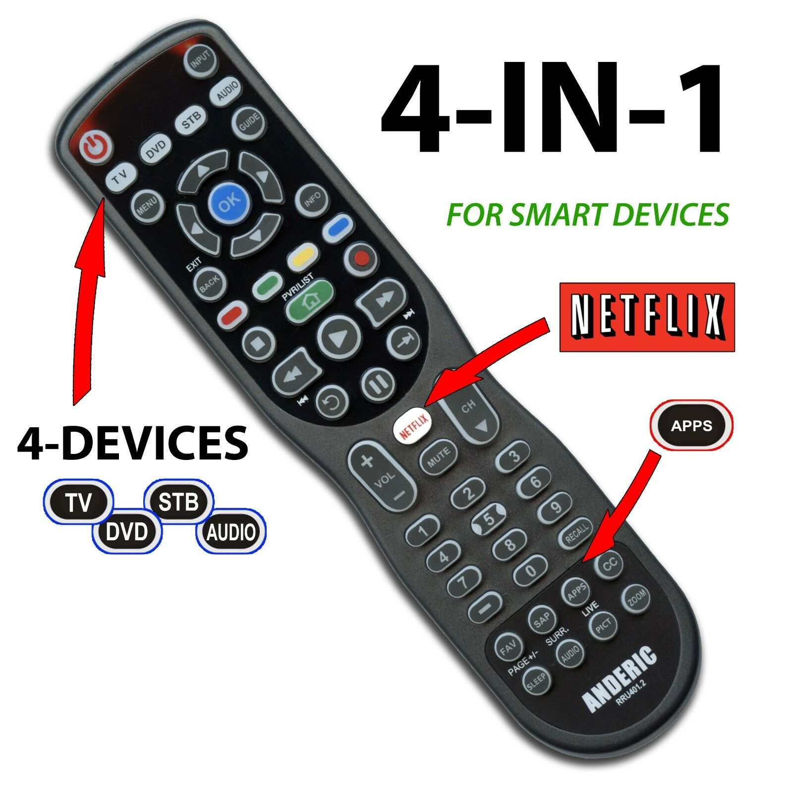 Anderic 4Device Universal Remote Control for SMART TV ROKU Audio more
