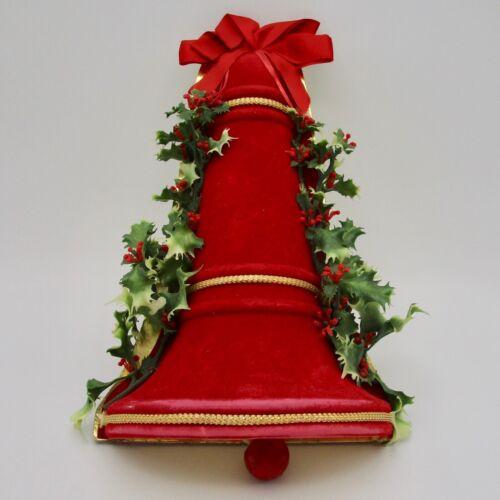 Vintage Christmas bell wall decoration flocked bead clapper cardboard plastic