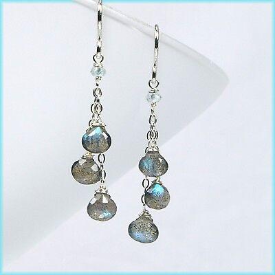 Handmade Precious Labradorite & Aquamarine Chain Dangle Drop Silver Earrings NEW (Aquamarine Sterling Silver Earrings)