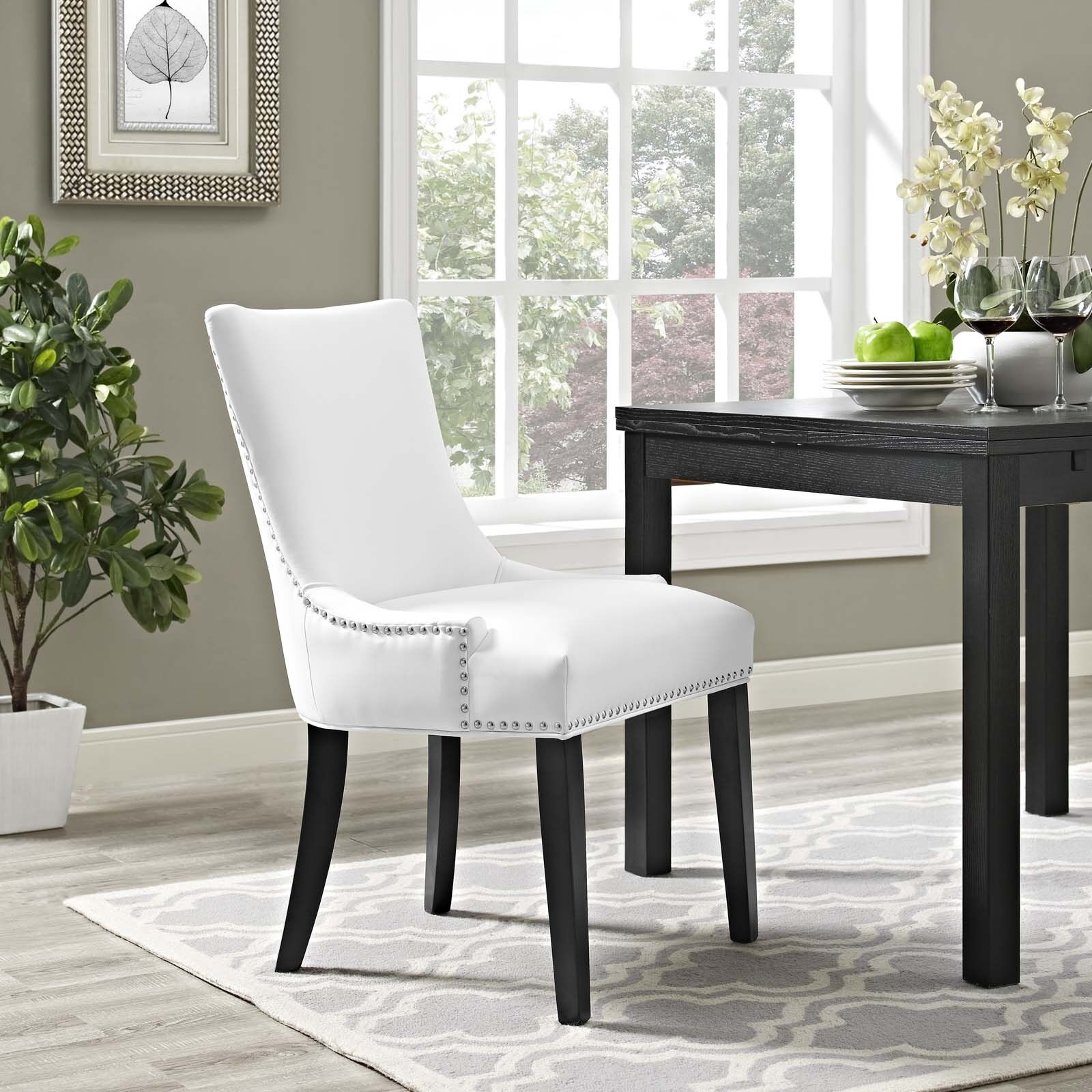 Details About Faux Leather Upholstered Nailhead Trim Parsons Dining Side Chair In White