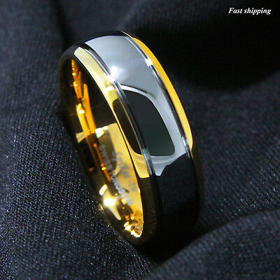 - 8/6mm Dome 18K Gold Silver Mens Tungsten Ring Wedding Band Bridal ATOP Jewelry