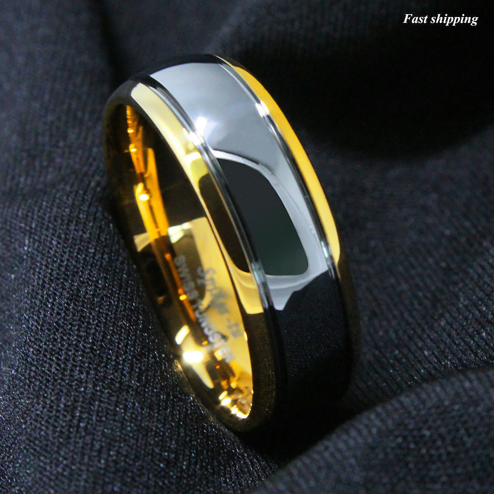 Ring - 8/6mm Dome 18K Gold Silver Mens Tungsten Ring Wedding Band Bridal ATOP Jewelry