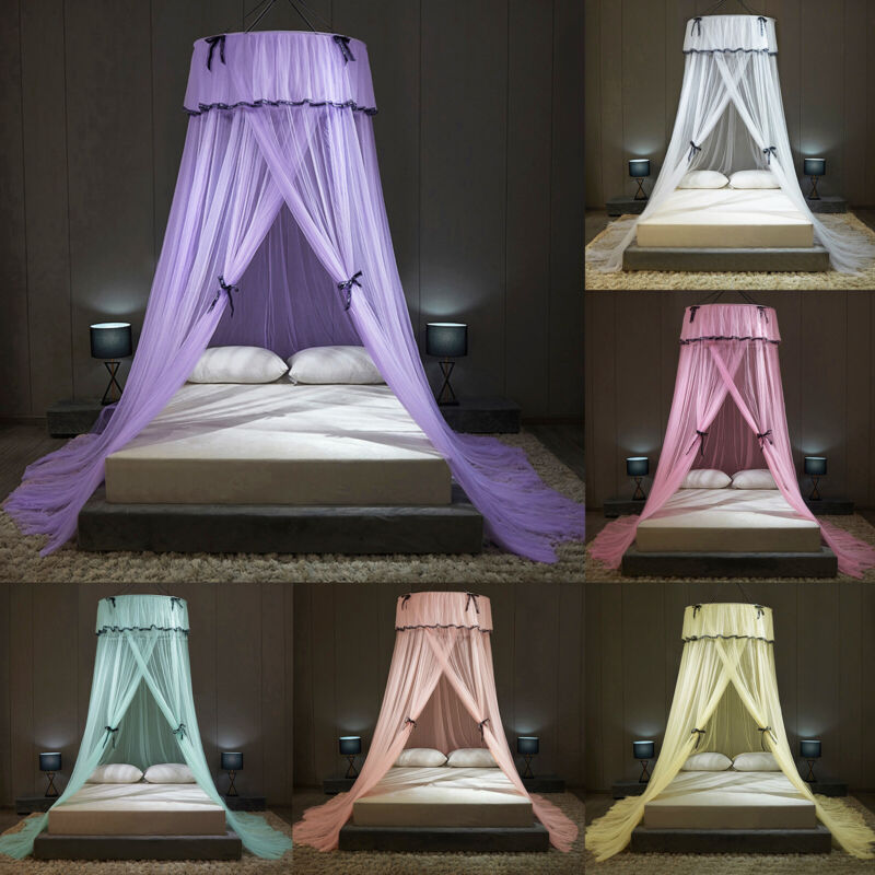 Elegant Mosquito Net Princess Round Dome Bed Net Canopy for Single to Queen Size