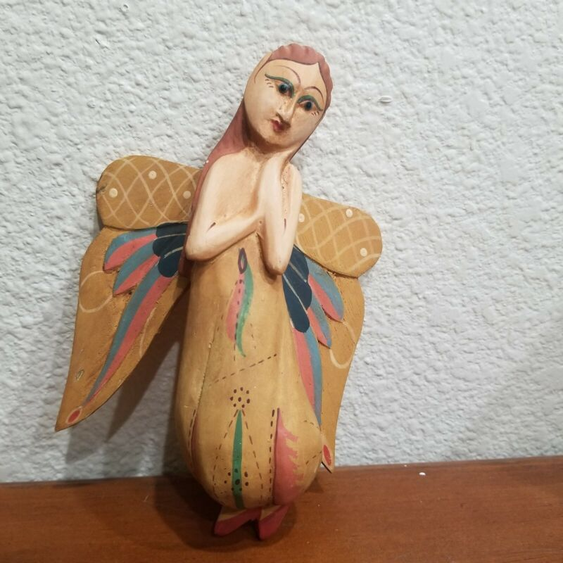 Wood Christmas Angel Fairy Tree Ornament Carved Wood Body one piece