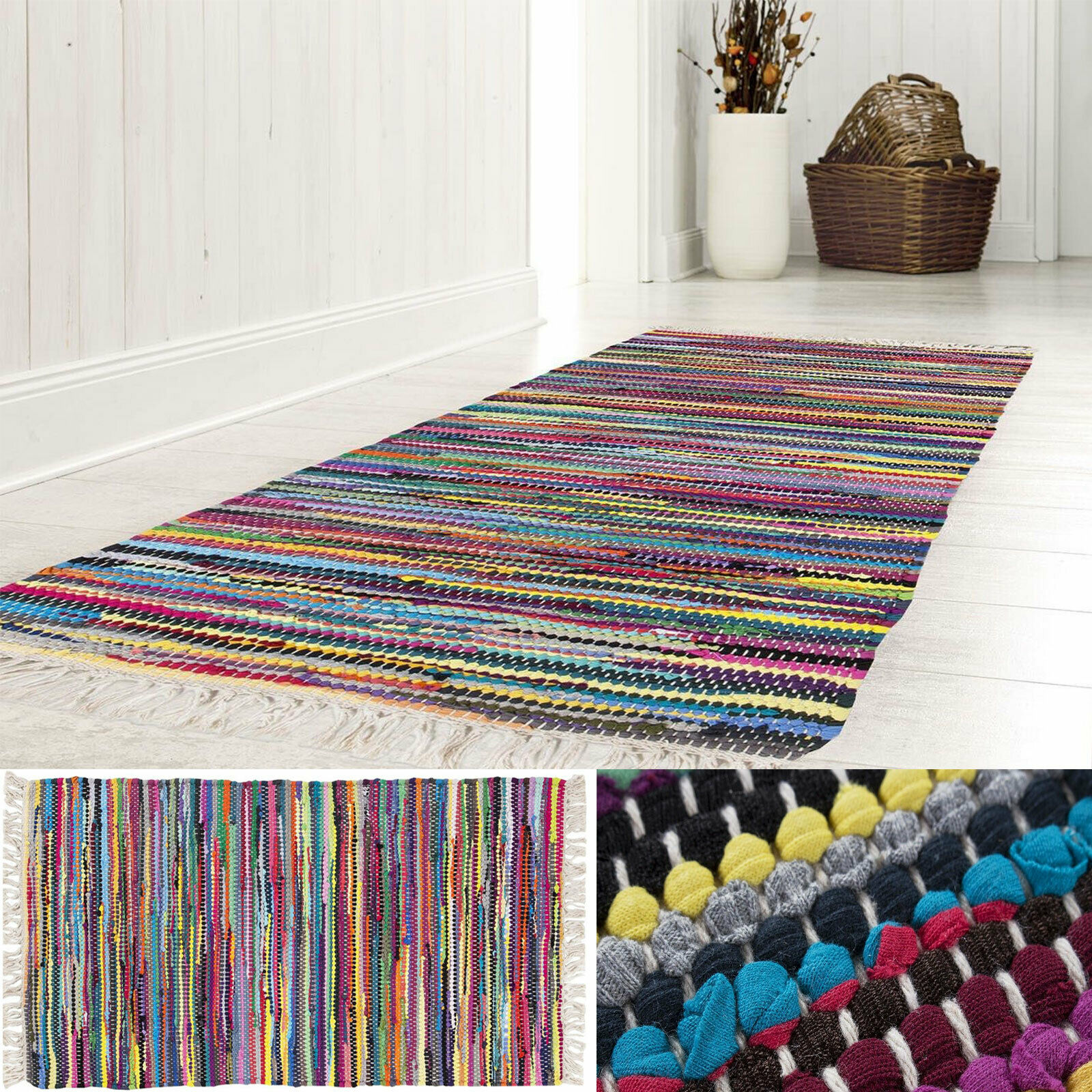 Flickenteppich Handwebteppich Fleckerl Teppich 100% Baumwolle Bunt Läufer Küche
