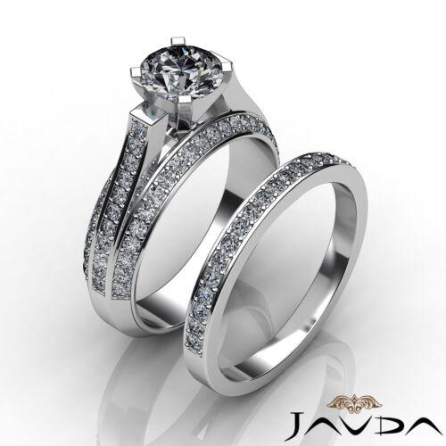 Natural Round Shape Diamond Engagement GIA F VS1 Platinum Bridal Set Ring 3.4ct
