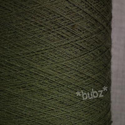 PURE MERINO WOOL YARN 2/30s LODEN GREEN 500g CONE LACEWEIGHT 1 PLY DEEP KNITTING Loden Green Wool