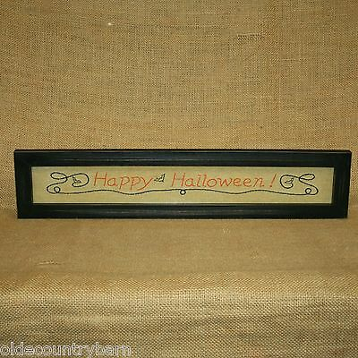Happy Halloween Stitchery Picture Wall Table Decor Country Primitive (Halloween Stitchery)
