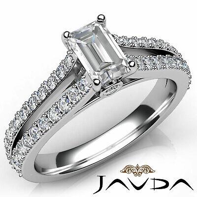 Emerald Diamond Engagement Double Prong Bezel Set Ring GIA F VS1 Clarity 1.15Ct