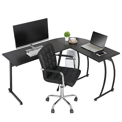 Modern L-shaped Corner Computer Home Desk Pc Laptop Study Table Workstation
