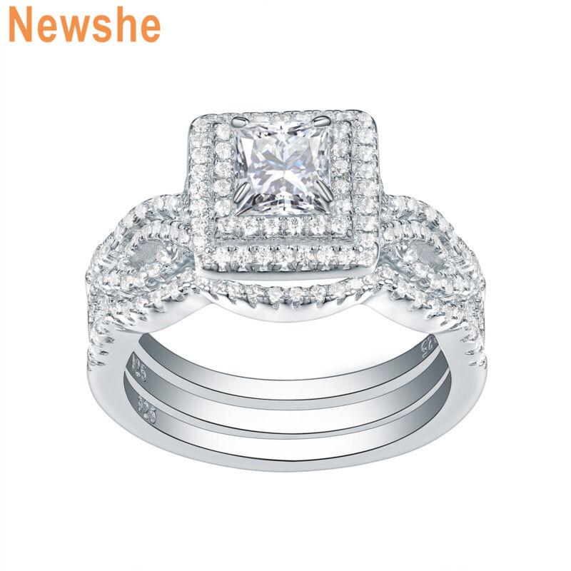 Newshe Wedding Engagement Ring Set 925 Sterling Silver 2.4ct Princess Cz Sz 5-10